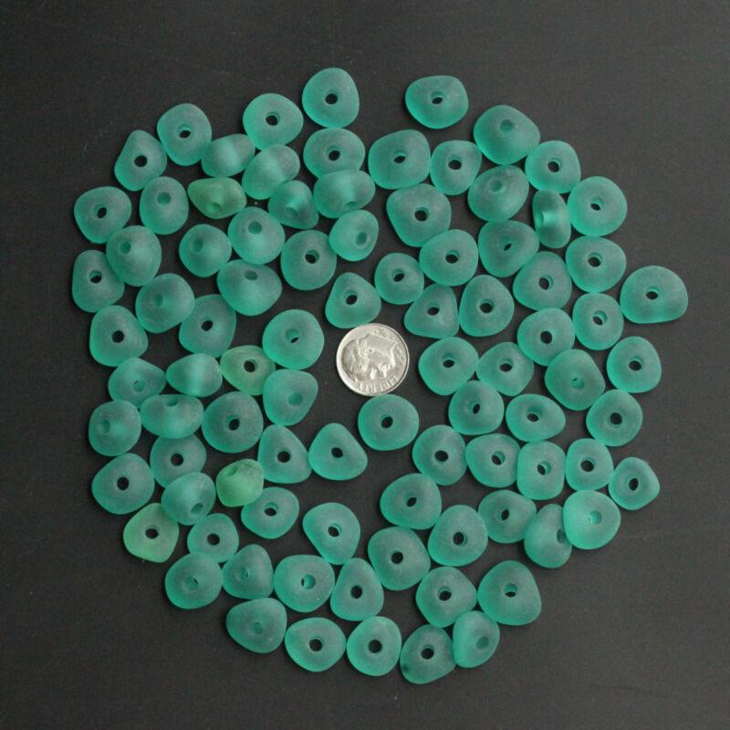 teal aqua center drilled 3mm big hole sea beach glass 10 pcs lots  pendant