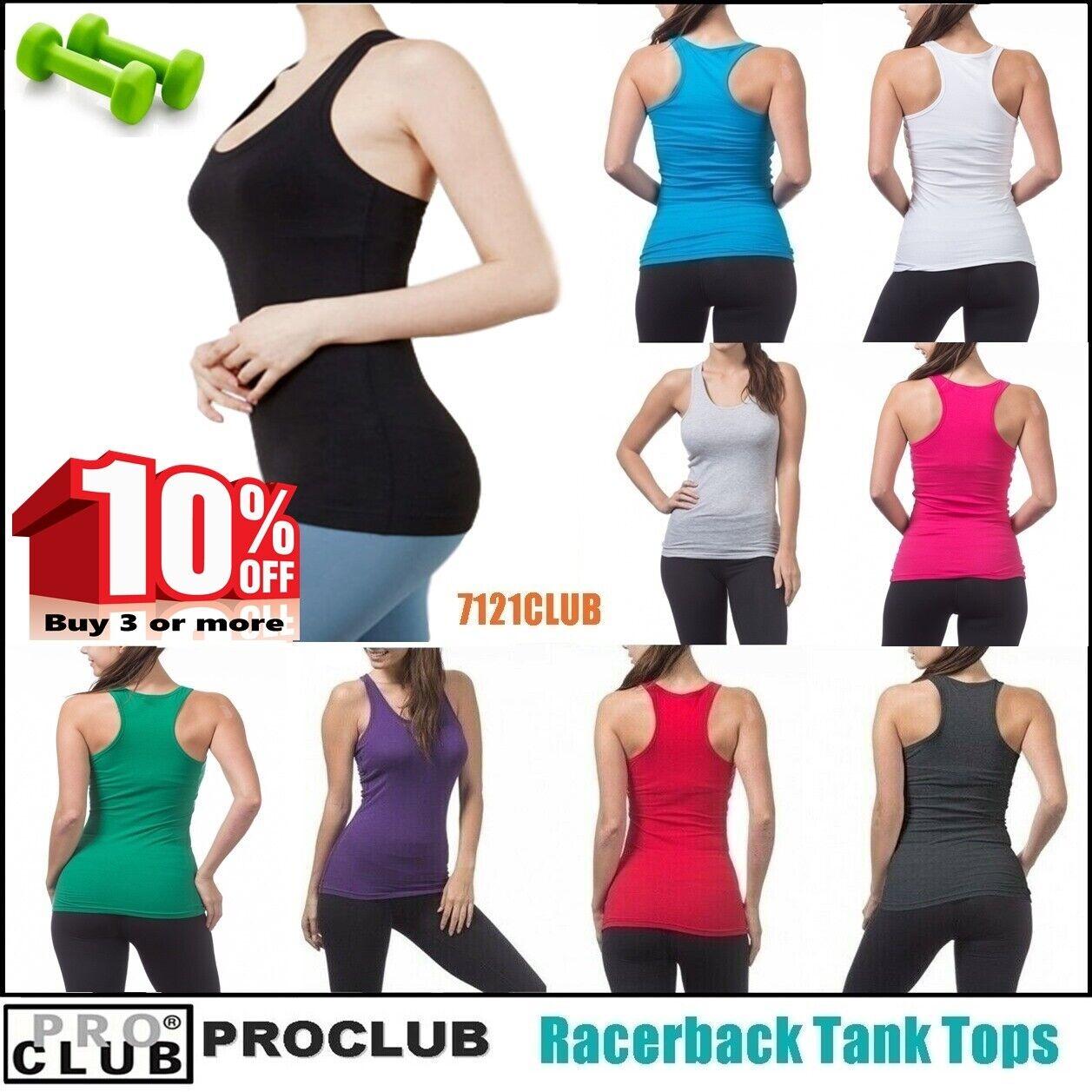 WOMENS Racerback Tank Tops Sleeveless PROCLUB Workout Gym Yo