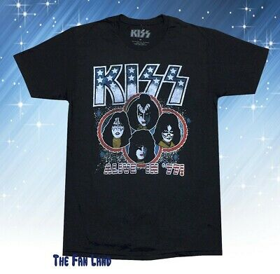 New Kiss Band Alive in 1977 Classic Mens Vintage Retro T-Shirt 1977 Mens Retro T-shirt
