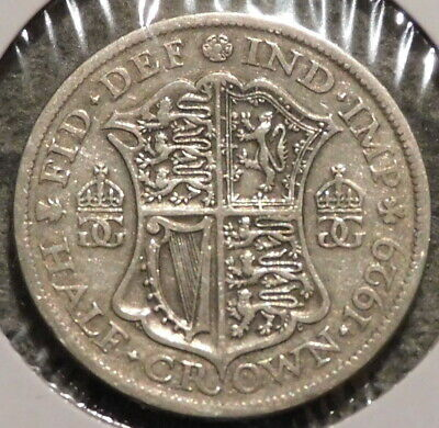British Silver Half Crown - 1929 - Overstock Sale! - $1 Unlimited Shipping -033