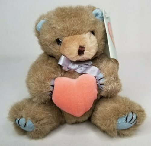 """Teddy Hugglesbie Plush Bear Vintage 80s Cute Jointed Holding Heart Cute Small 7"""""""