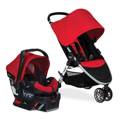 Britax 2017 B Agile 3 Stroller   B Safe 35 Car Seat Travel System Red New