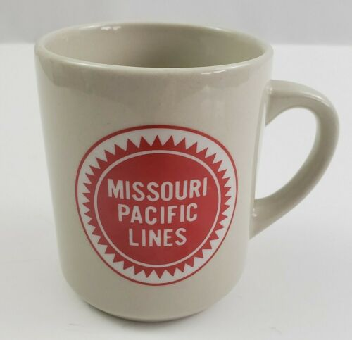 Missouri Pacific Lines Coffee Cup White Ceramic Mug Railroad Red Logo