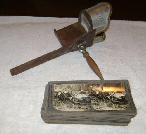 Keystone Wood & Metal Stereoscope viewer with 31 pictures, Some WW1