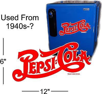 "12""  PEPSI SCRIPT 40'S STYLE  FOR SODA POP VENDING MACHINE COOLER OR SIGN"
