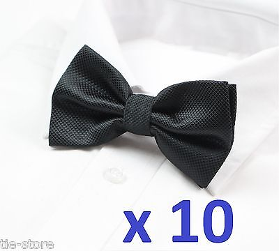 BULK 10 PACK x MENS CHECKERED BOW TIES PRE-TIED MEN'S BOWTIE WEDDING TIE BLACK