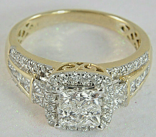 3.24ct Princess cut Invisible Diamond Engagement Ring Solid 14K Yellow Gold