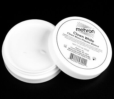 2.25 oz Clown White theatrical circus face paint mime Mehron TV makeup stage pro - White Clown Paint