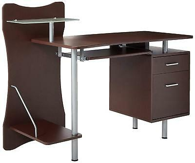 Computer Desk with a Pullout Keyboard Tray and Multiple Compartments for (Computer Desk With Keyboard Tray And Storage)