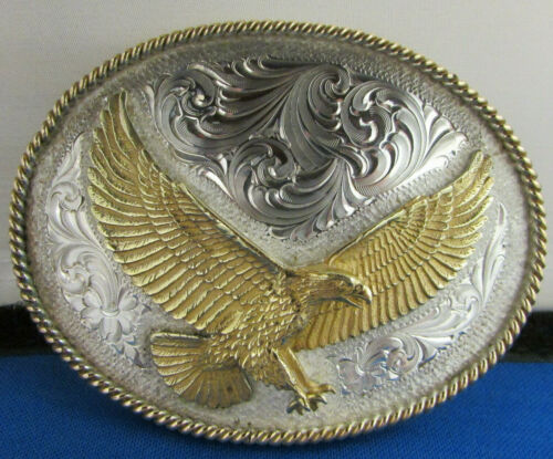 Genuine Montana Silversmiths Gold Eagle on Silver Belt Buckle see descrip. New