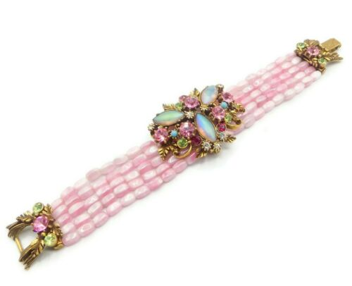 Vintage FLORENZA Bracelet Pink Art Glass Multi-Strand Multi-Color Rhinestones