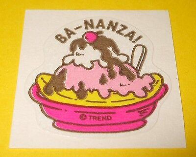 Vtg 80s TREND Scratch n Sniff MATTE Sticker BA-NANZA Ice Cream Sundae Scent~Rare