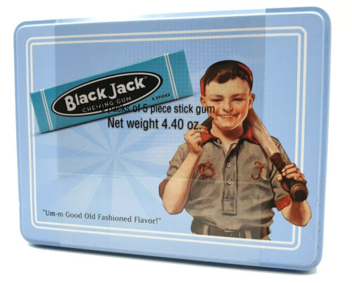 Gerrits 10 Packs BLACKJACK Chewing Gum in Collectible Tin - Black Jack Nostalgic