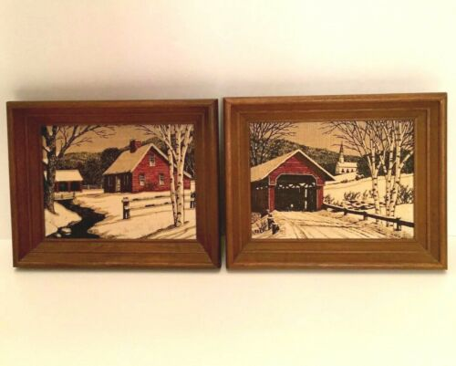 2 Vintage KayDee Framed Linen Handprints Snowy Covered Bridge and Farmhouse