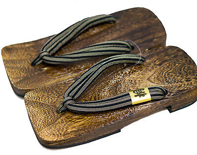 [Japan Made] Mens Geta Paulownia Wood Sandals Traditional 30cm, Stripe 6921