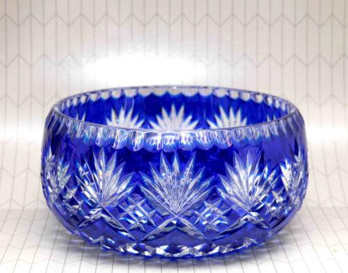 LARGE VINTAGE CRYSTAL CLEAR COBALT BOHEMIAN CUT GLASS BOWL FOIL LABEL POLAND
