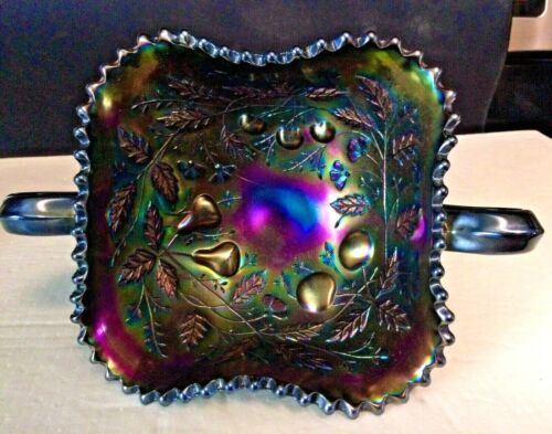 Northwood Fruits & Flowers Amethyst Carnival Glass Handled Bon Bon Footed Dish