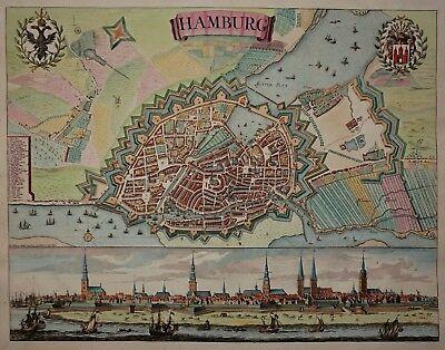 Hamburg - Peter Schenk 1690 - Sehr rarer Plan / Panorama - Original - Scarce map
