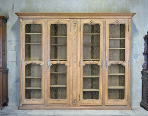 Antique French Country 4 Door Bookcase In Oak 10