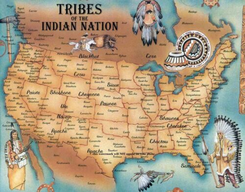 11x14 Indian Tribe Map Poster PHOTO Native Americans United States Tribes