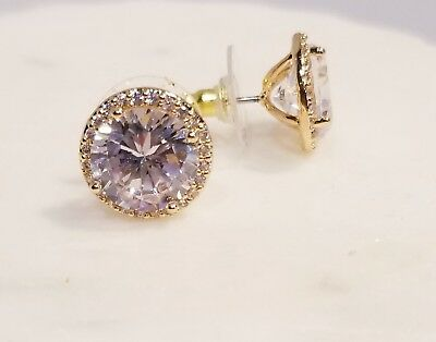 GOLD PLATED 3.5 CT 10MM EACH ROUND CZ MARTINI SET SOLITAIRE HALO EARRINGS