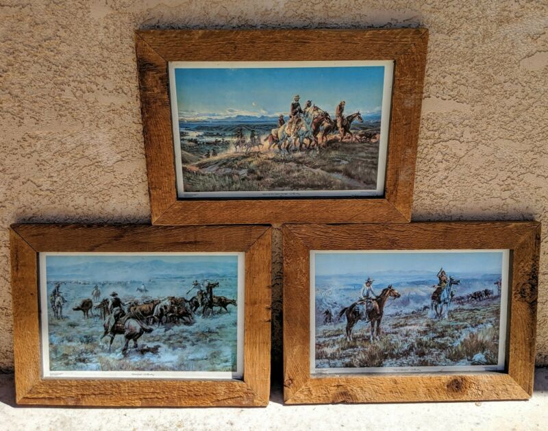 CM Russell Western Lithographs Framed Wood Rustic Roundup Men Of Open Range