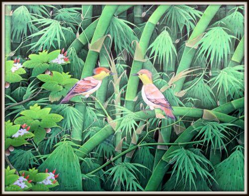 "Balinese Original Painting  ""Birds in Bamboo""  Incredible!  (27"" H x 35"" W"")"