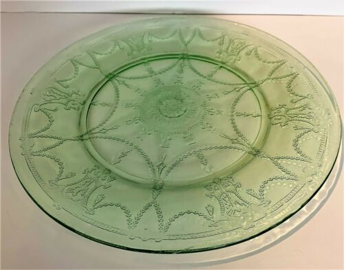 "Vintage Hocking Glass Co. Cameo (Ballerina, Dancing Girl) 9 1/2"" Plate, Green"
