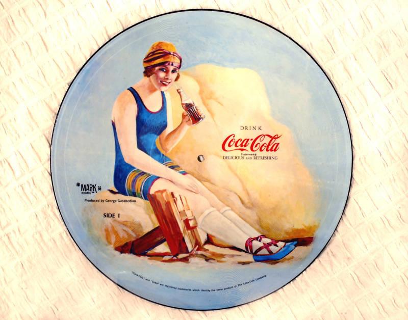 1970s COCA-COLA Advertisment on VINYL RECORD & FRAME, W.C. Fields NOSTALGIA