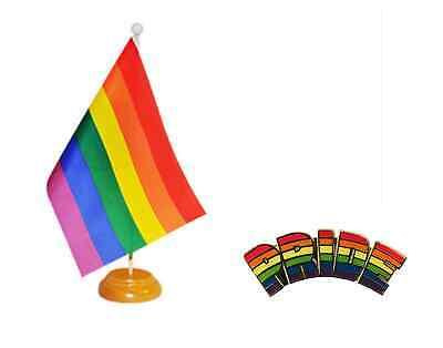 Conjunto De 2 Arcoiris Orgullo Lgbtq Bandera 22.9cm x 15.2cm Madera Mesa