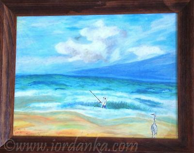 Fisherman of the Sea beach landscape drawing with oil pastels on paper