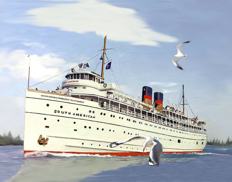 Great Lakes Cruise Ship South American canvas art print by Richard Browne