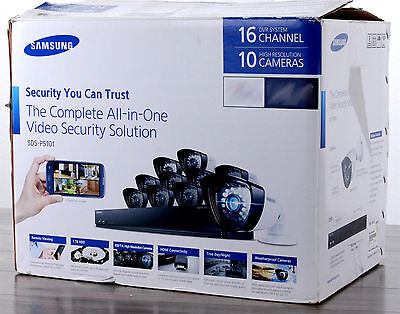 Samsung SDS-P5101 16-Ch DVR Security System 1TB 600TVL Weatherproof AS-IS NO HDD
