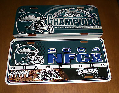 TWO 2004 PHILADELPHIA EAGLES NFC CHAMPIONS SUPER BOWL XXXIX LICENSE PLATES