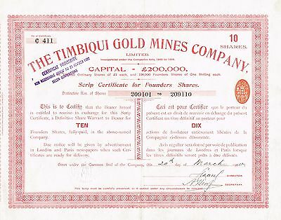 COLOMBIA TIMBIQUI GOLD MINES COMPANY stock certificate 1900 10SH FOUNDERS SHARES