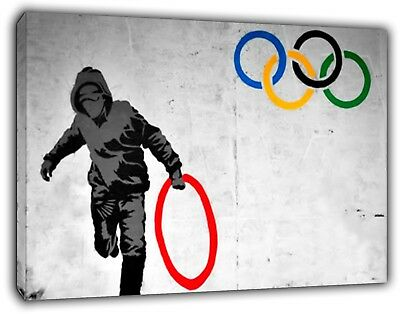 Banksy Olympic Rings Thug Reprint on Framed Canvas Wall Art Home Decoration](Olympic Rings Decorations)