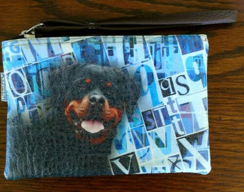 Rottweiler Dog Coin Purse With Handle Zipper Pouch, Makeup Bag Vegan Leather