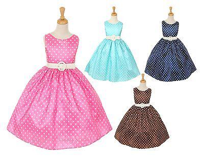 - New Flower Girl Polka Dot Pink Aqua Navy Brown Dress Easter Christmas Party 1097