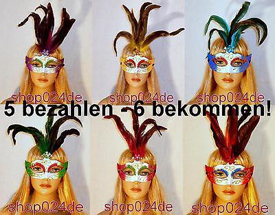 Federn Faschingsmaske Maske Fasching Verkleidung Karneval (Venezianische Maske Federn)