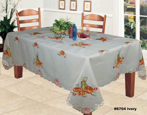 Harvest Thanksgiving Embroidered Pumpkin Sunflower Tablecloth 70x140 & 12 Napkin