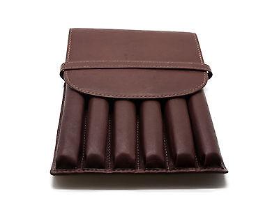 Leather Pen Case 6 Pack Antique Brown