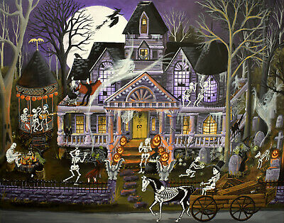 X Halloween Bash (5.5x7 folk art print HALLOWEEN MONSTER MASH BASH JOL haunted house party cat)