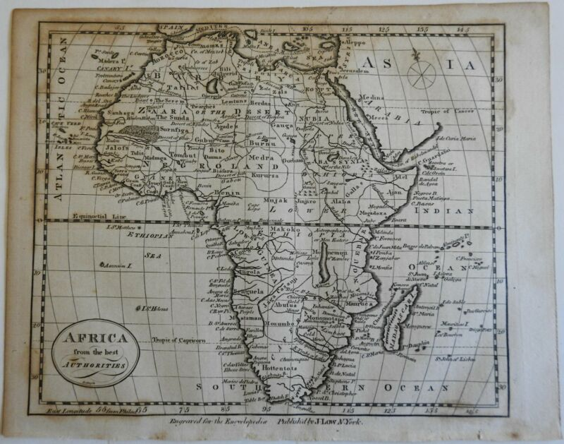Africa continent 1799 Rollinson Low early American map Wheat & Brun # 859