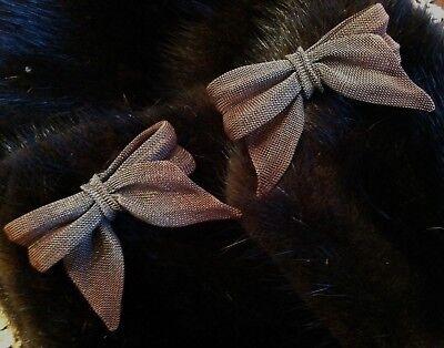 - Sarah Cavender MetalWorks Hand Artisan Woven Copper/Gray Mesh Bow Clip Earrings!