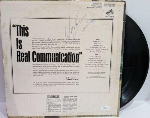 "WAYLON JENNINGS Signed Autograph LP Cover ""Hangin"