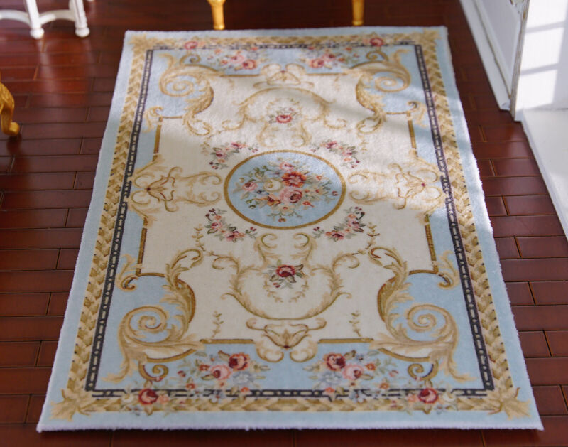 Beautiful Victorian Rose Floral French Swirls Dollhouse 1/12 Miniature Rug