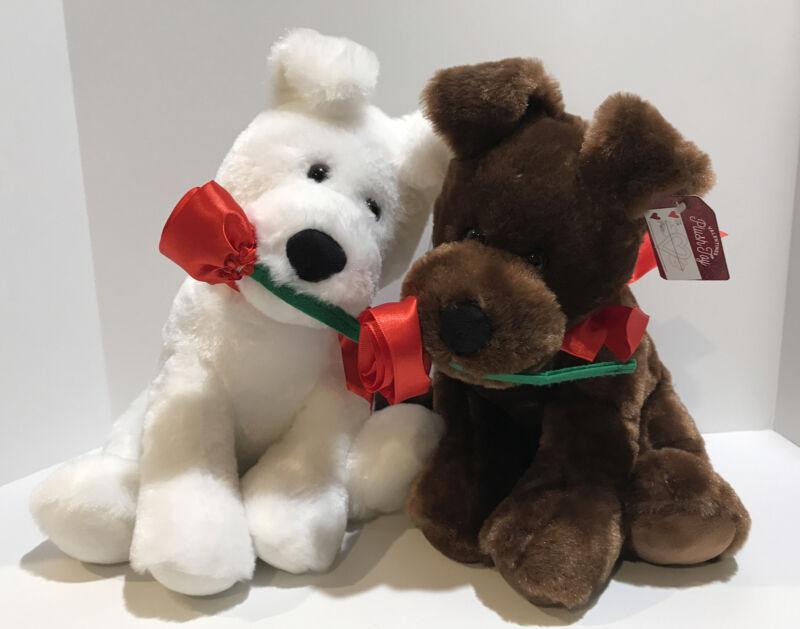 Plush Teddy Bear Gift Set Stuffed Puppy Animal Red Hearts Roses