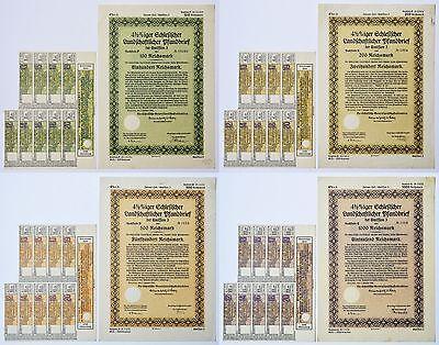 4x Historische Wertpapiere Nonvaleurs Schlesischer Landschaftlicher Pfandbrief
