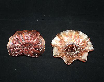 Two Vintage Marigold Carnival Glass Bowls