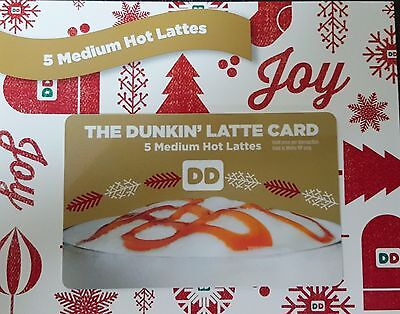 Dunkin Donuts 25 Medium Hot Latte Lattes Coffees Coffee Gift Card No Tax  Expiry